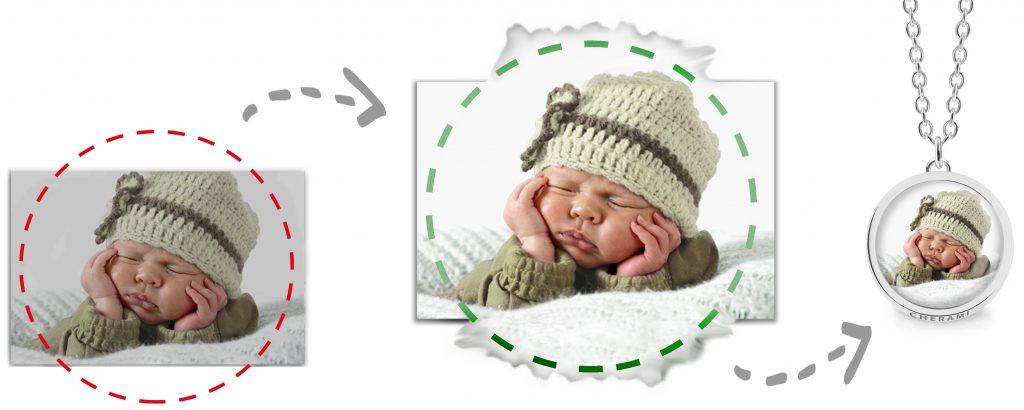 Wir bearbeiten dein Foto damit dein personalisierter Fotoschmuck noch eindrucksvoller wird.