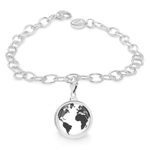 Armband mit einem Charm, Charmarmband mit einer Weltkarte