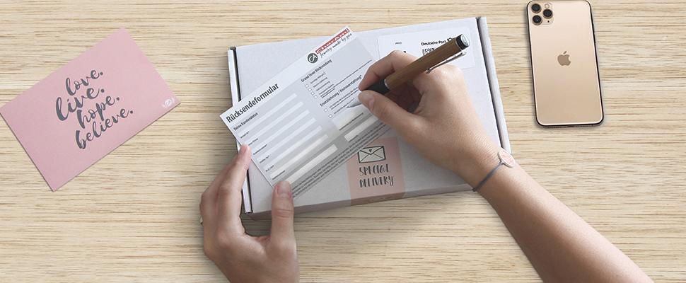 Rücksendeformular für Schmuck ausfüllen