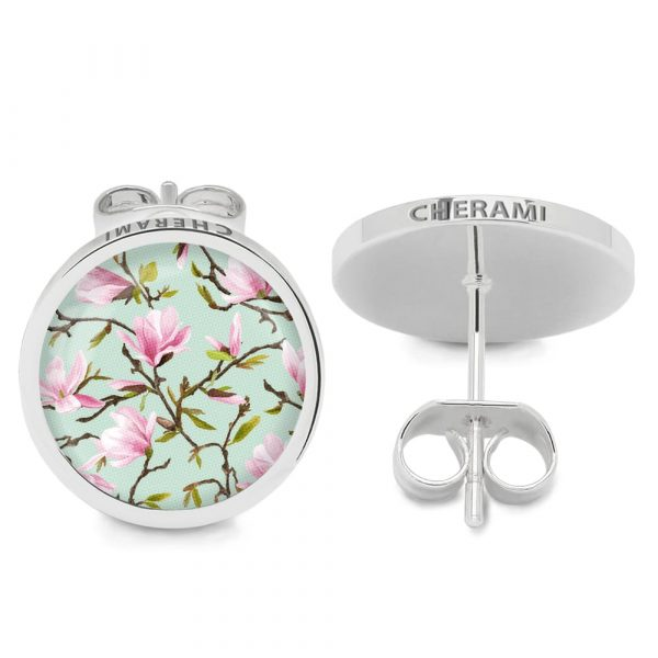 Ohrschmuck mit Blumenmuster, Magnolia Flowers, Flower-Optik, Florales Muster