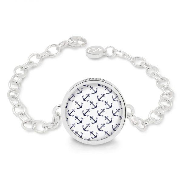 Armband in weiß-blauen und maritimen Farben, Anker