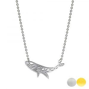 Tierkette mit einem Buckelwal - Origamikette - Geometrischer Schmuck aus Edelstahl für Damen