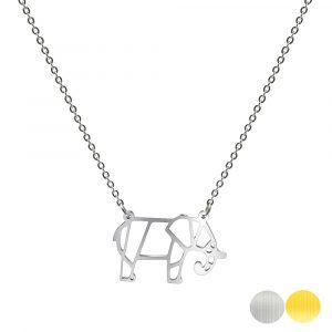 Tierkette mit einem Elefanten - Origamikette - Geometrischer Schmuck aus Edelstahl für Damen