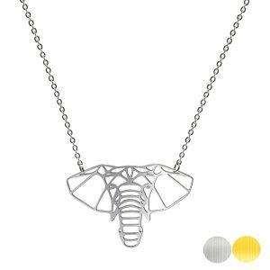 Tierkette mit einem Elefantenkopf - Origamikette - Geometrischer Schmuck aus Edelstahl für Damen