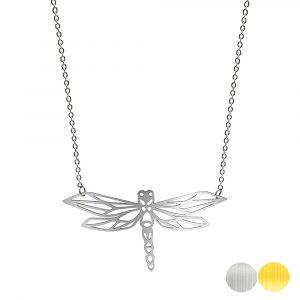 Tierkette mit einer Libelle - Origamikette - Geometrischer Schmuck aus Edelstahl für Damen