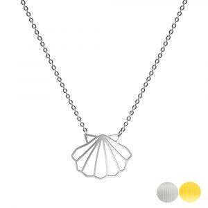 Tierkette mit einer Muschel - Origamikette - Geometrischer Schmuck aus Edelstahl für Damen