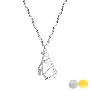 Tierkette mit einem Pinguin - Origamikette - Geometrischer Schmuck aus Edelstahl für Damen