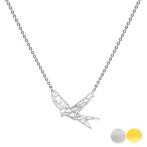 Tierkette mit einer Schwalbe - Origamikette - Geometrischer Schmuck aus Edelstahl für Damen